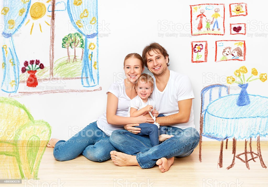 Concept : happy young family in  new apartment dream stock photo