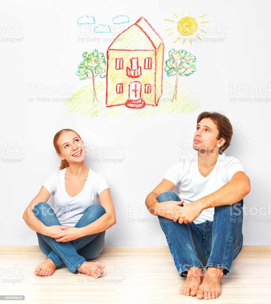 Concept:  housing and mortgage for young families. couple dreami stock photo