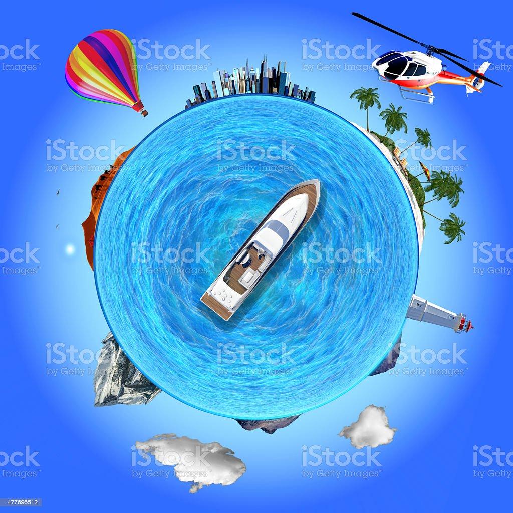 Concept illustration that shows several travel destinations stock photo