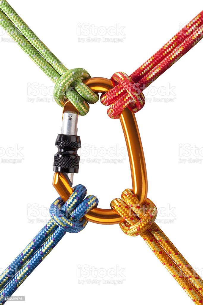 Concept image. Four knotted ropes to a carabiner stock photo