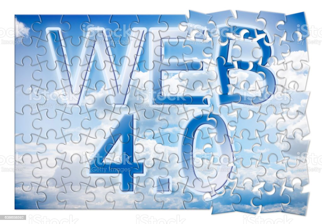 WEB 4.0 - concept image in puzzle shape stock photo