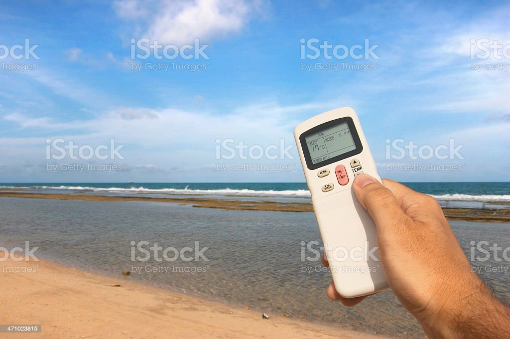 Concept image to control the weather with an A/C remote royalty-free stock photo