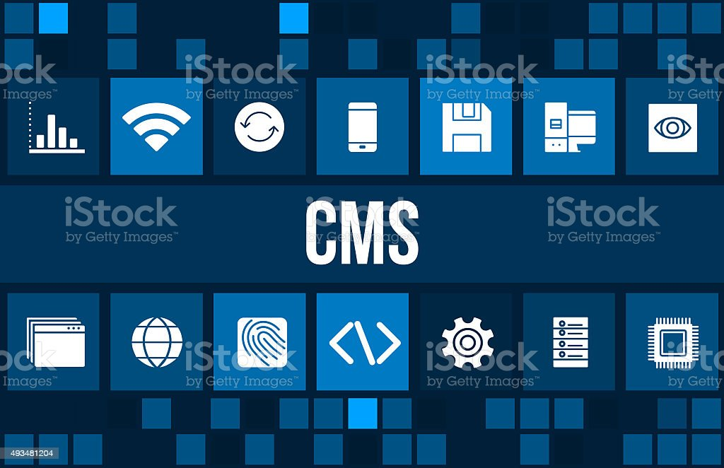 CMS concept image with technology icons and copyspace stock photo