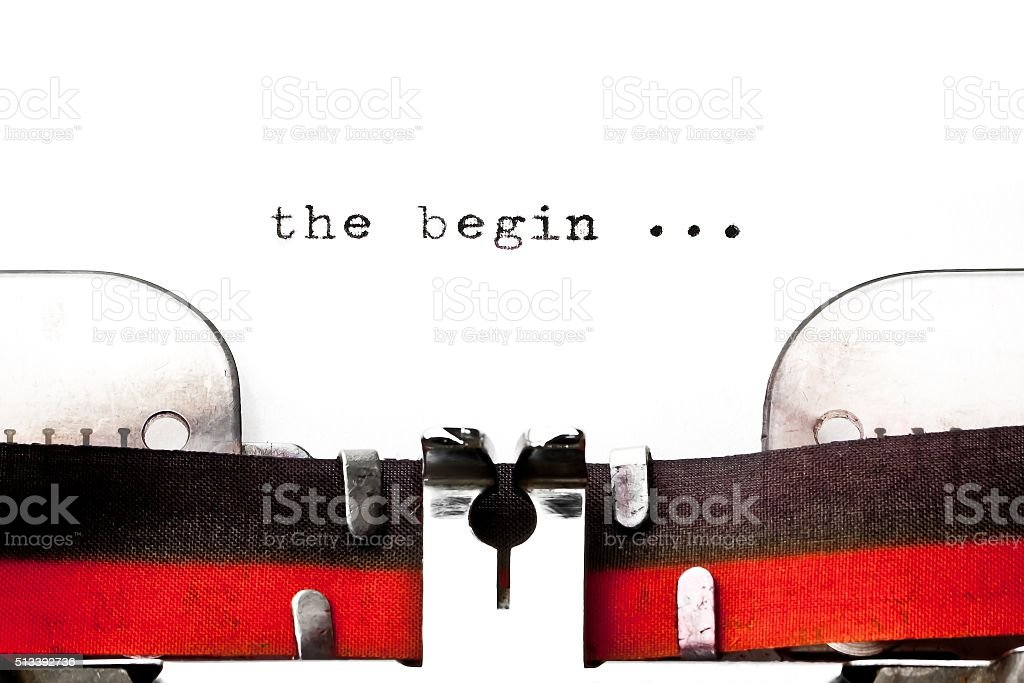 concept image with word begin printed stock photo