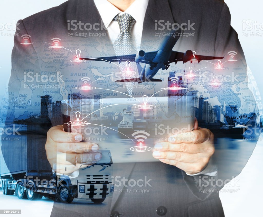 concept  import-export commercial logistic stock photo