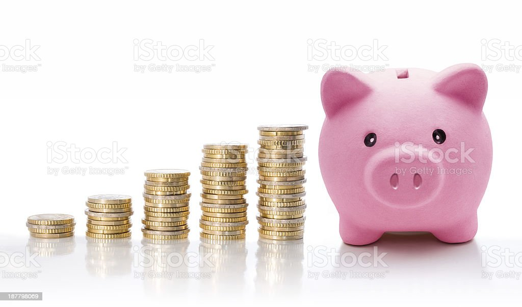 concept incrementing finance with moneybox stock photo