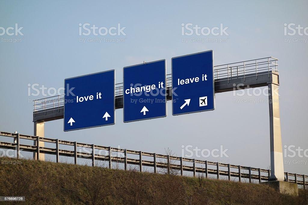 concept - love it, change it, leave it stock photo
