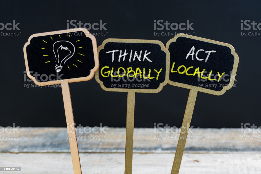 Concept message written with chalk on wooden mini blackboard labels stock photo