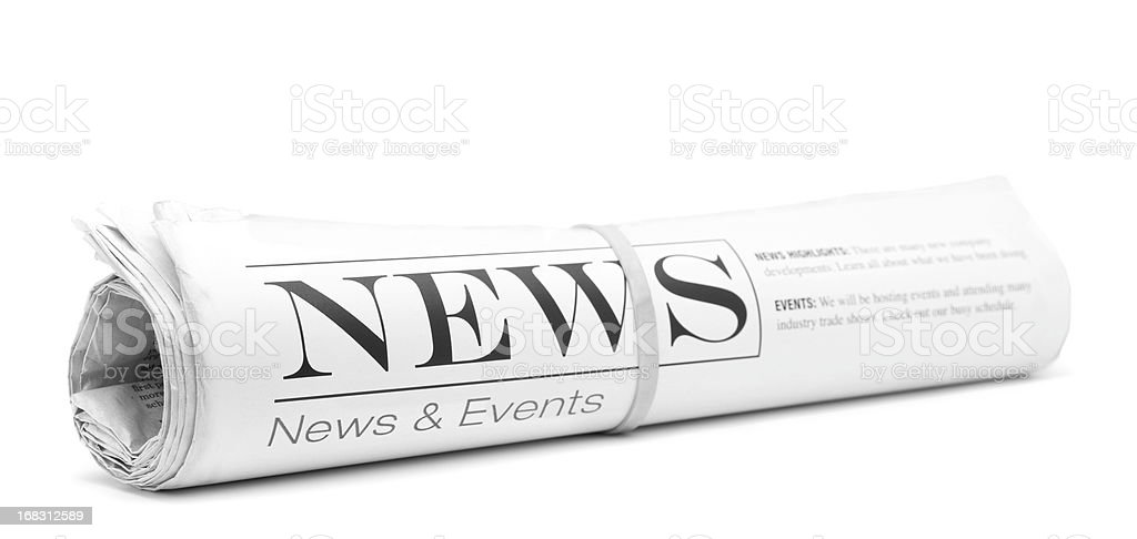 Concept newspaper, rolled up stock photo