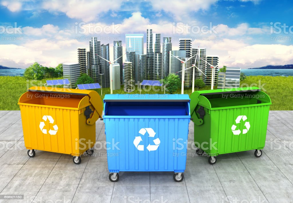 concept of a clean environment. Three refuse container on the clean and green city background. 3D illustration vector art illustration