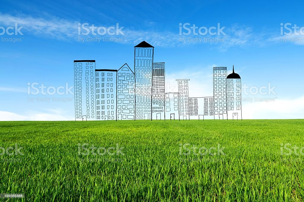 Concept of a new residential block in the new location. stock photo