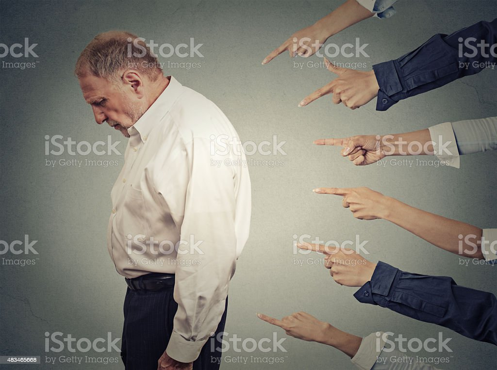 Concept of accusation of a guilty businessman person stock photo