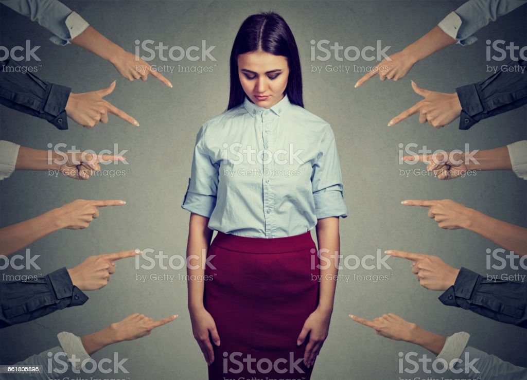 Concept of accusation of guilty young person stock photo