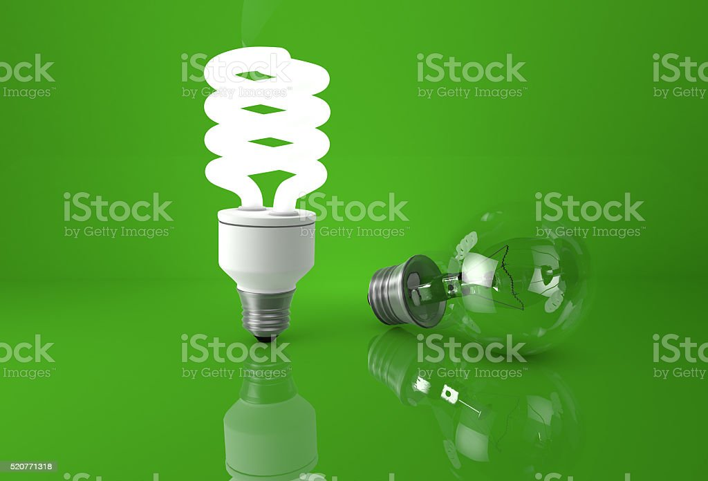 Concept of advantage of new technologies. Glowing energy saving stock photo