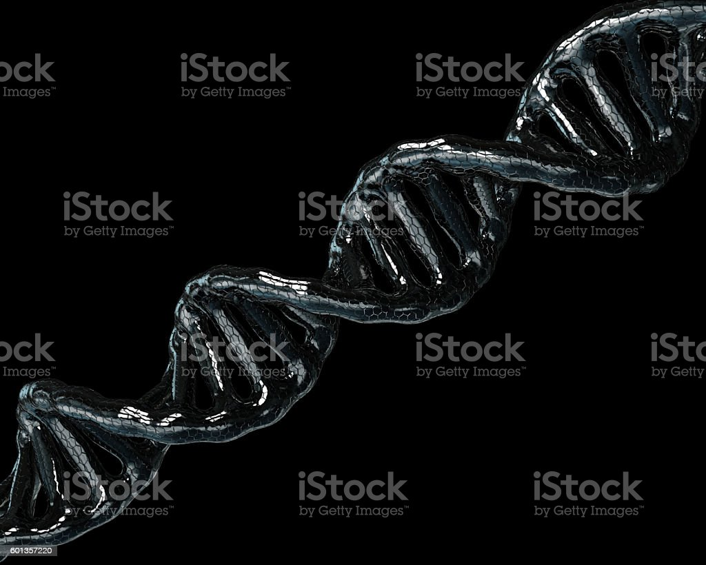 Concept of biochemistry with dna molecule on black background stock photo
