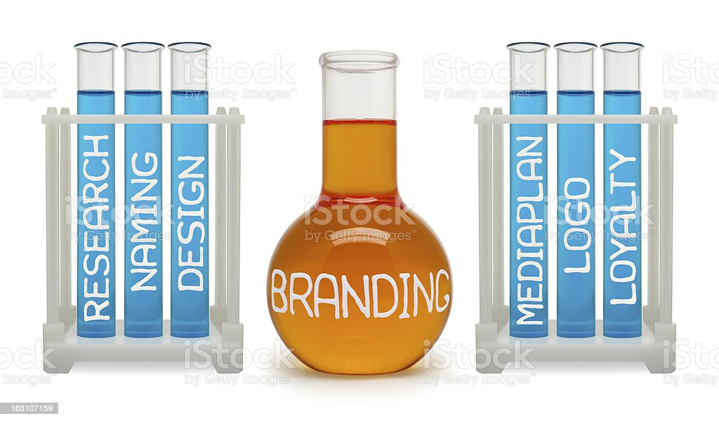 Concept of branding. Cyan and orange flasks. royalty-free stock photo