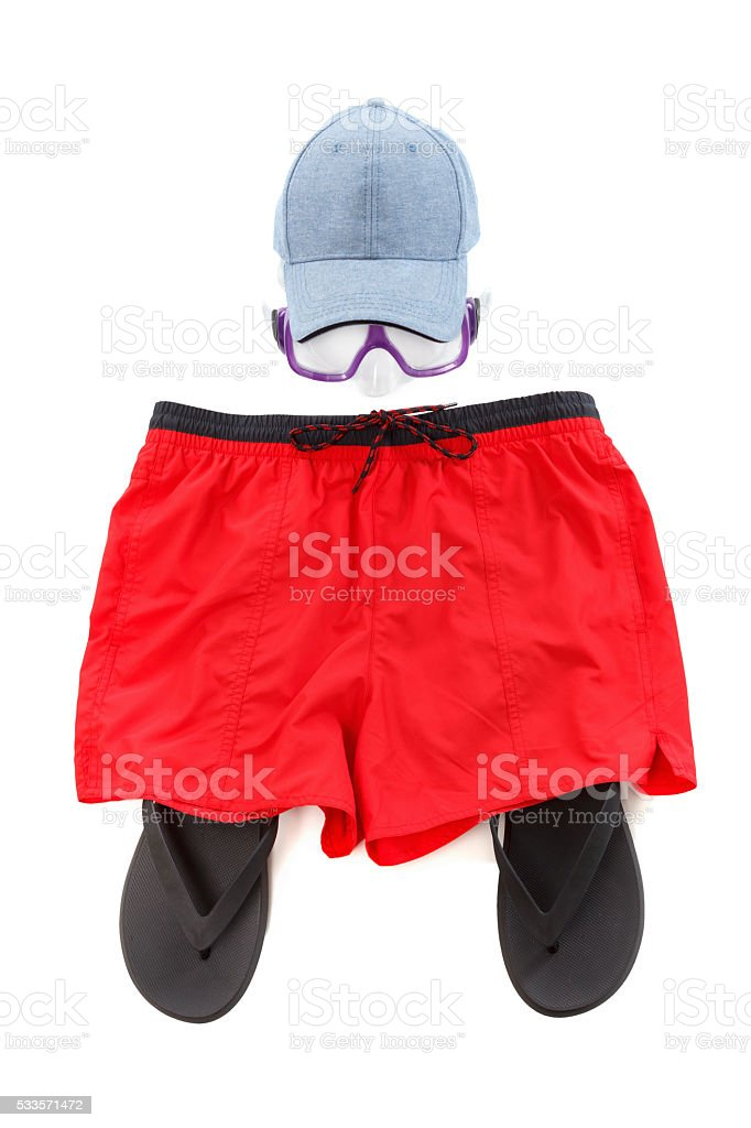 Concept of clothing and diver goggles, preparing for rest stock photo