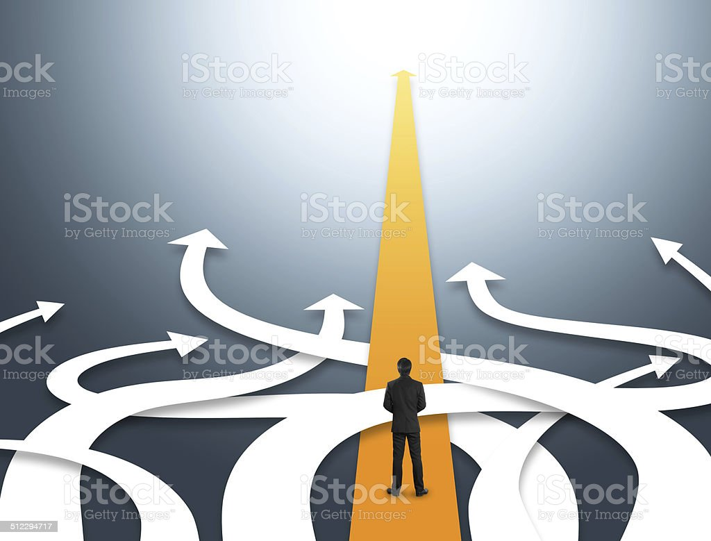Concept of confused business with different directions stock photo