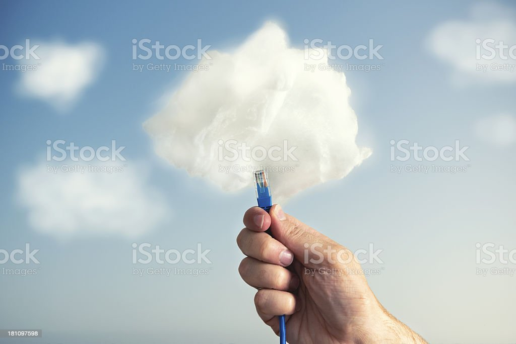 Concept of connecting a computer to the cloud stock photo