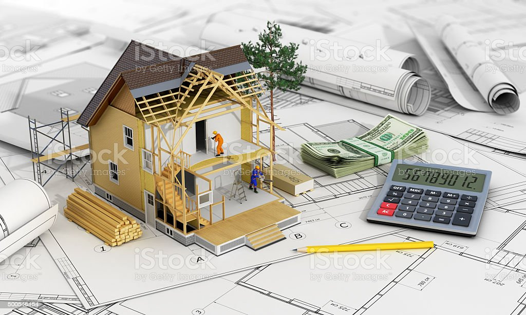 Concept of construction and architect design. stock photo