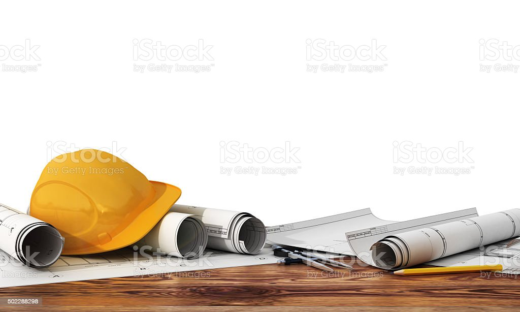 Concept of construction and design. stock photo