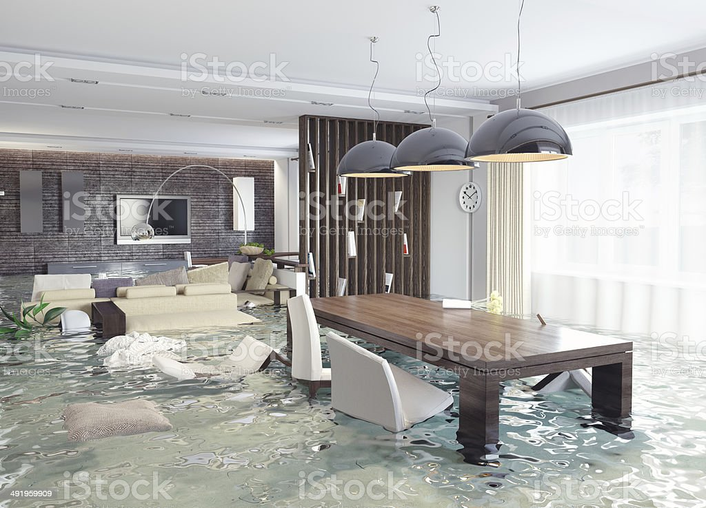 3D concept of contemporary interior flooding stock photo