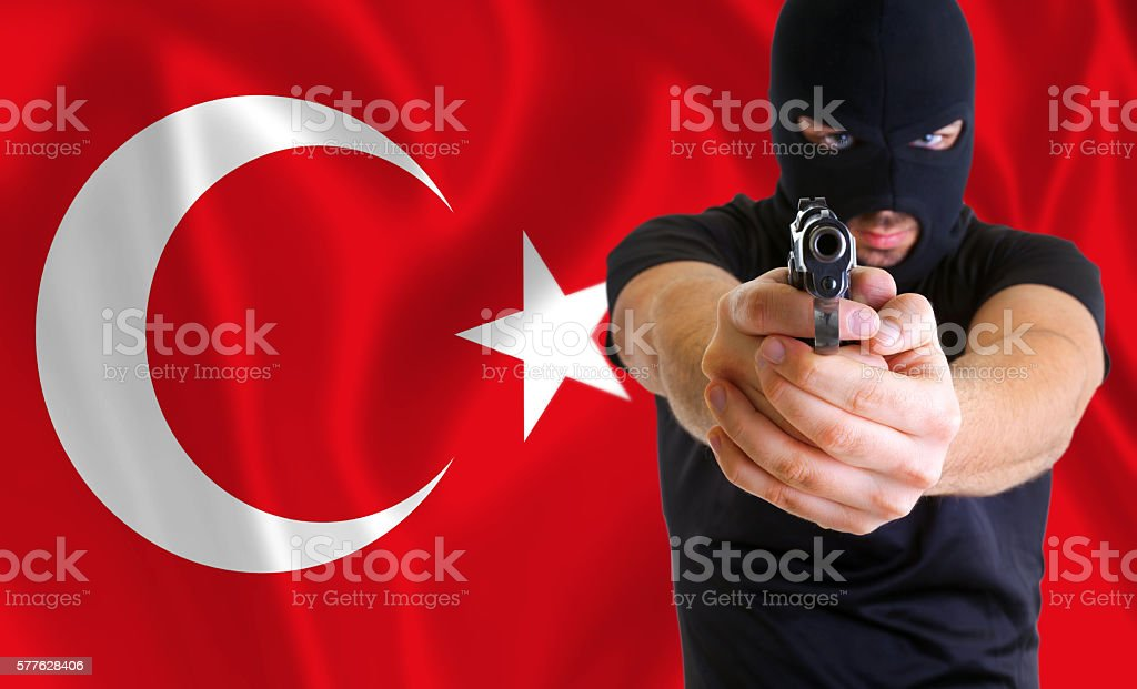 Concept of coup in Turkey stock photo