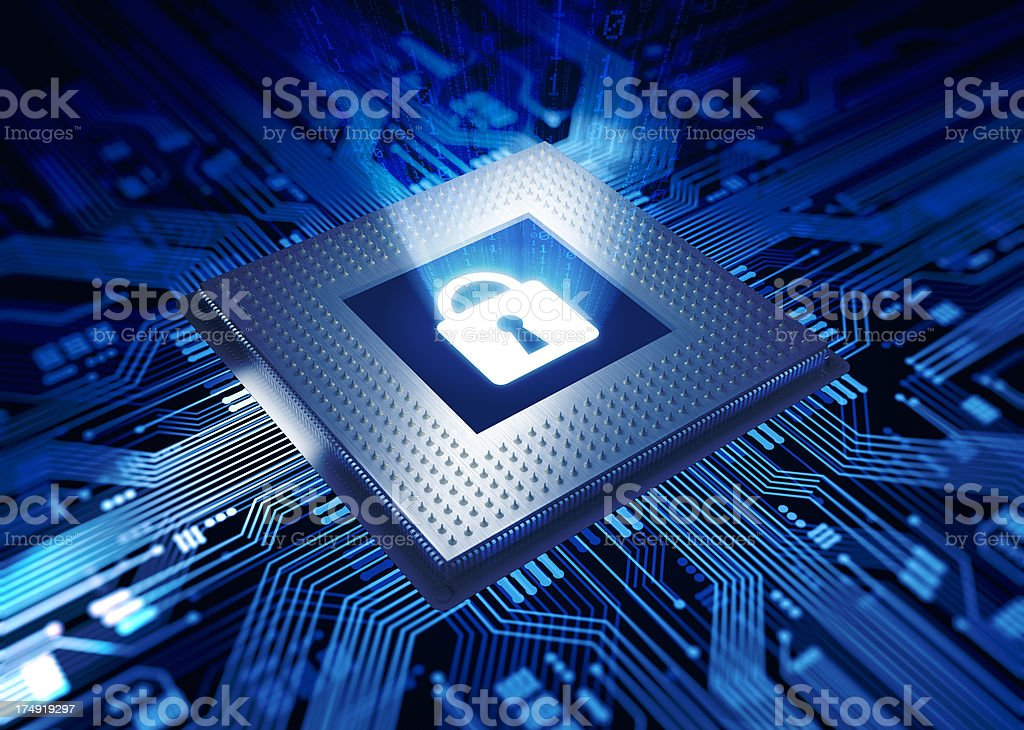 Concept of cyber security with lock stock photo