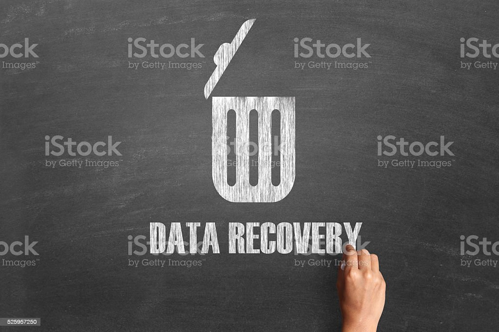 Concept of data recovery on blackboard stock photo