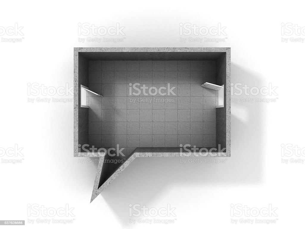 Concept of dialog. Room in form of dialog stock photo