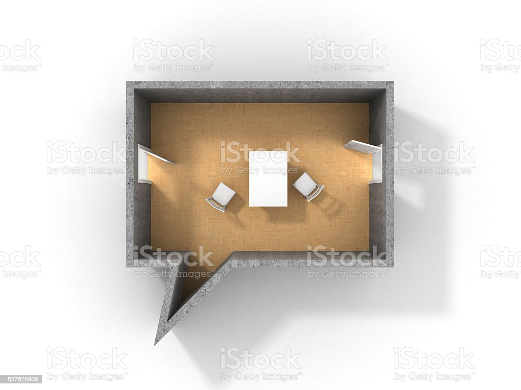 Concept of dialog.Room in form of dialog stock photo