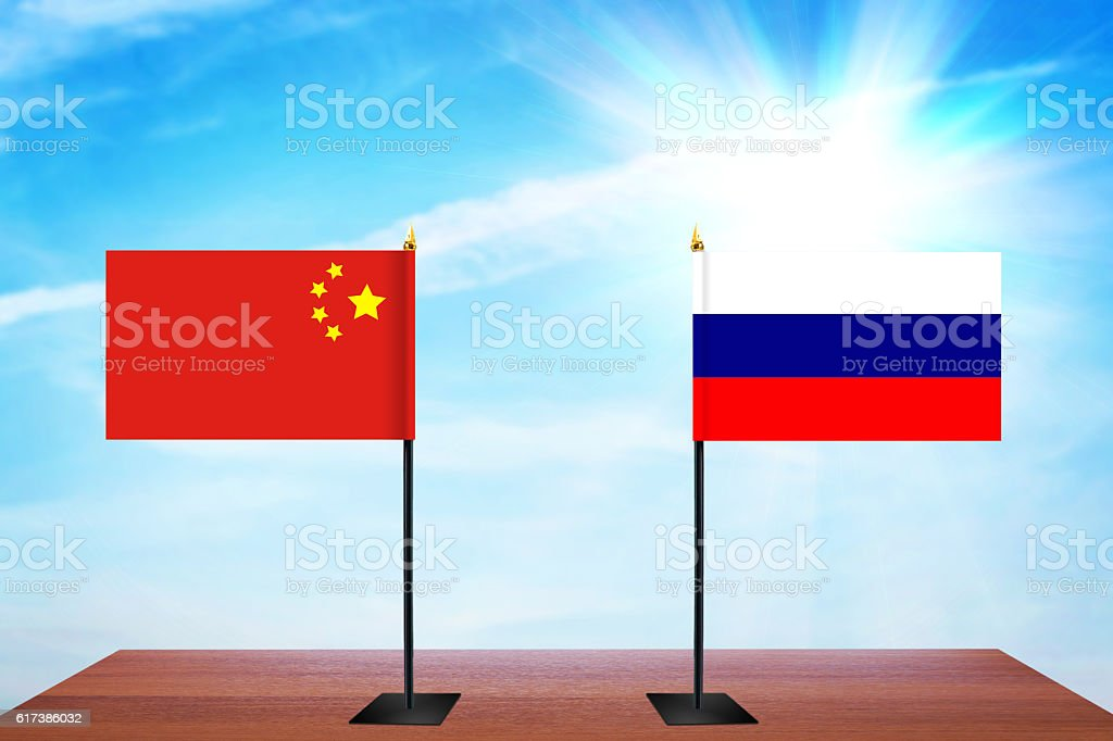 Concept of diplomatic talks between China and Russia stock photo