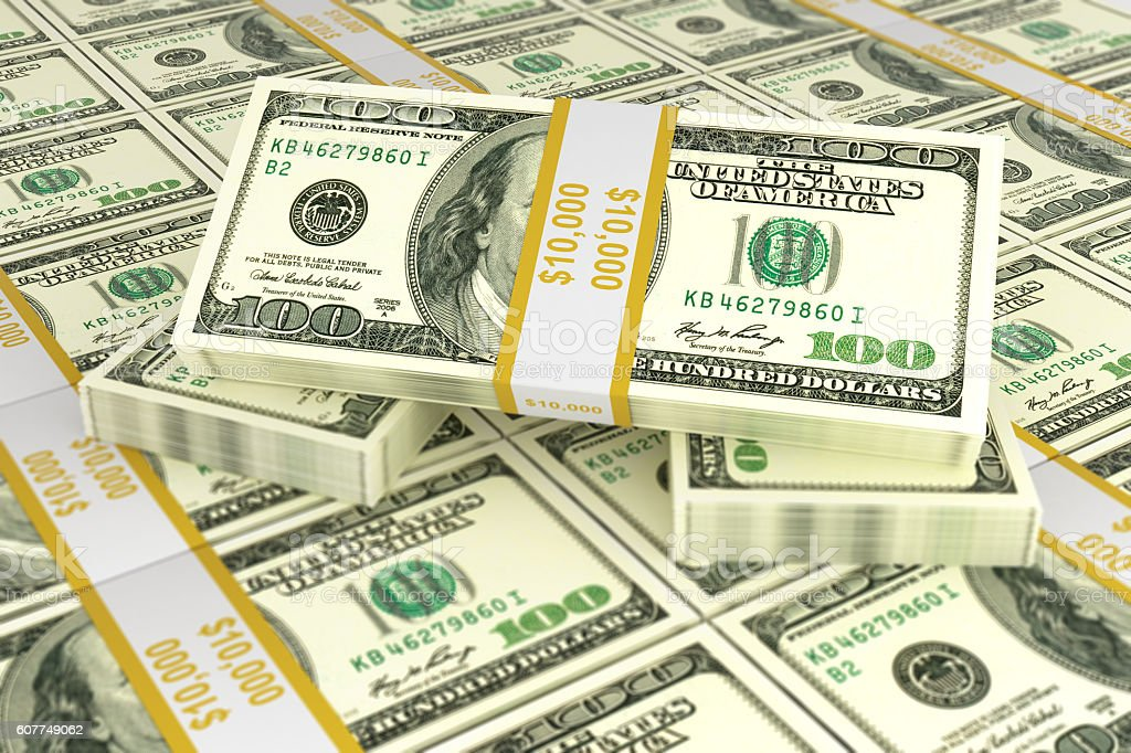 Concept of dollars for business and trade 3d stock photo