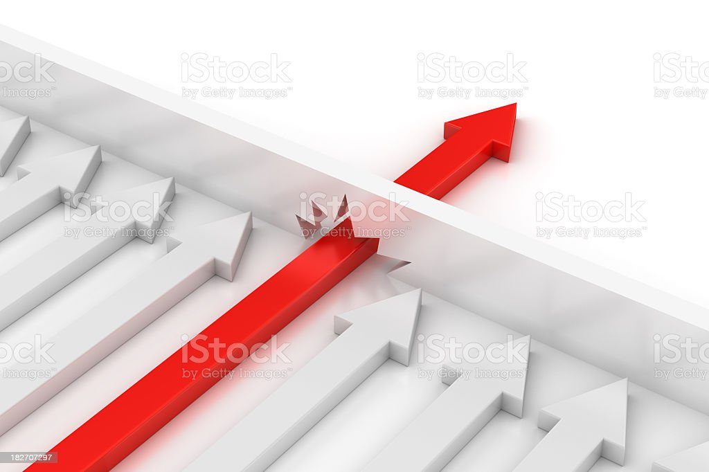 Concept of Don't stop with red arrow breaking the boundary stock photo
