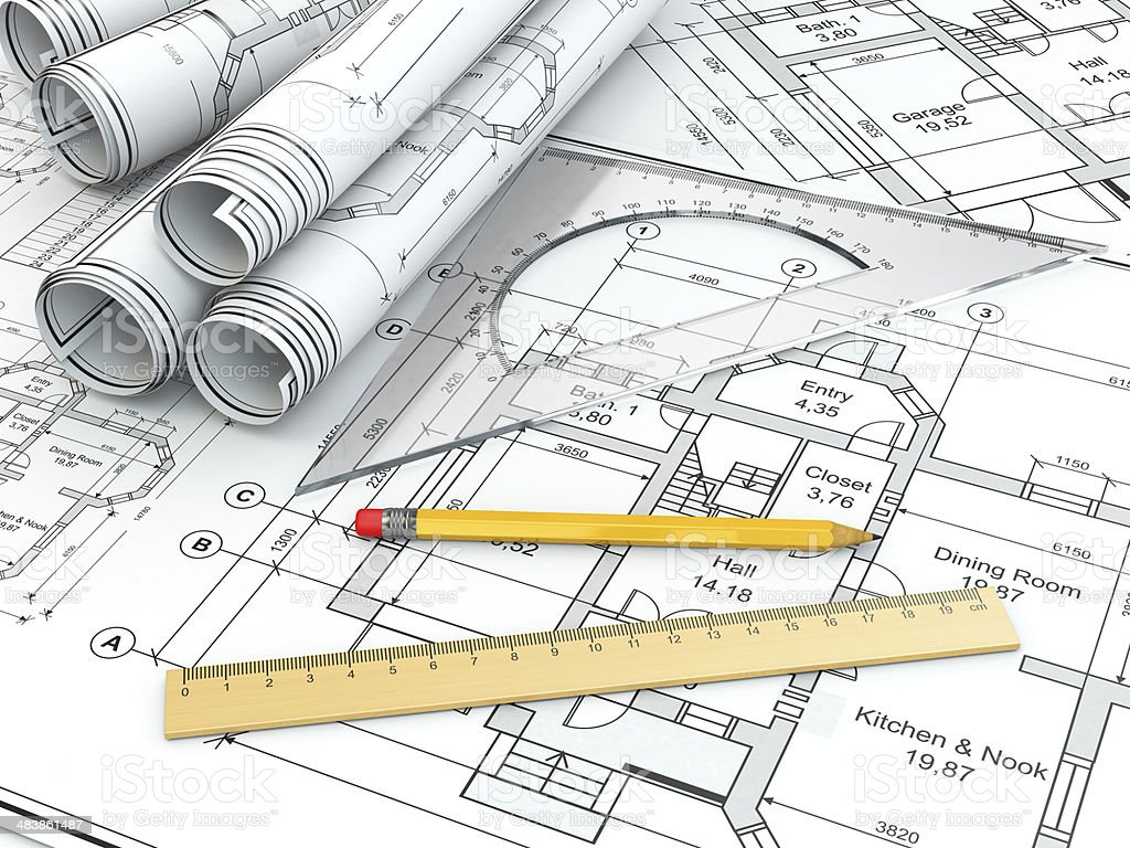 Concept of drawing. Blueprints and drafting tools. royalty-free stock photo