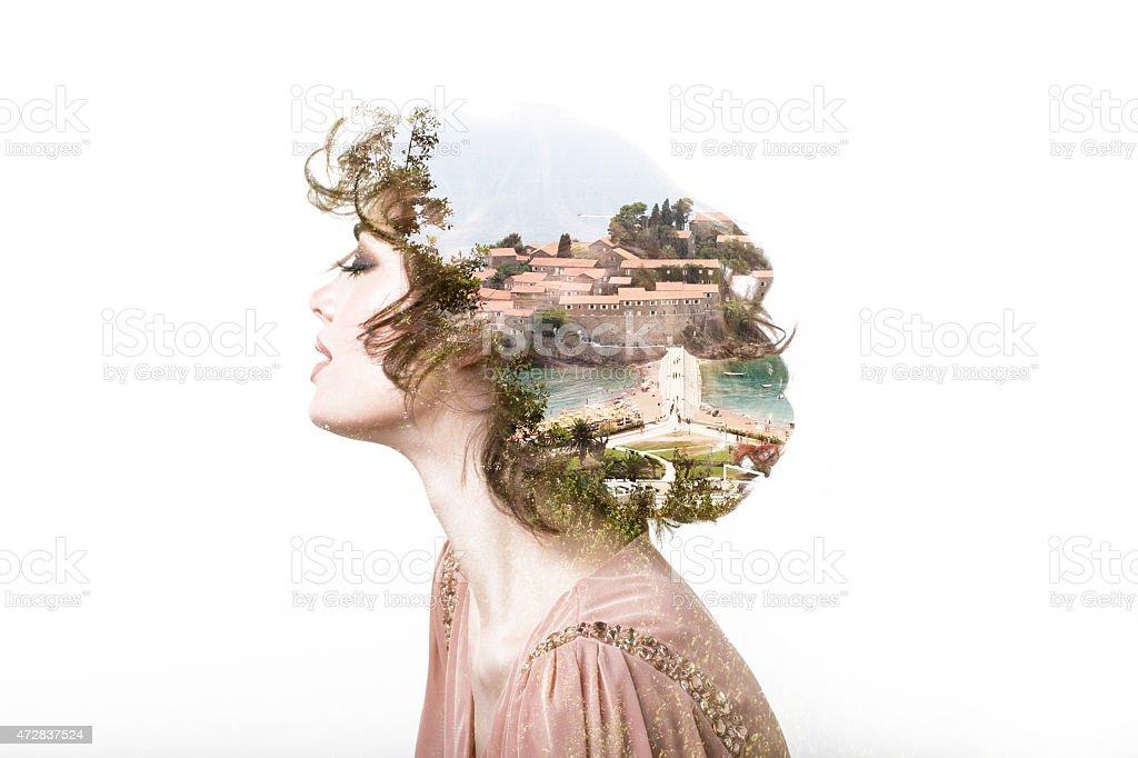 Concept of dreams. Portrait double exposure effect. stock photo
