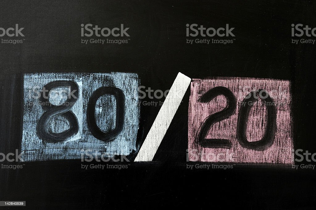 Concept of eighty twenty rule stock photo