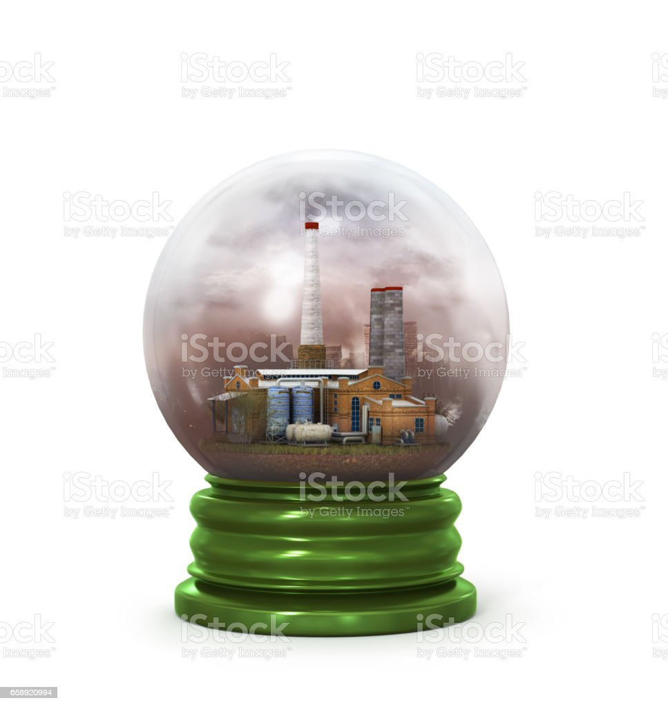 concept of environmental protection plant in glass sphere'n stock photo