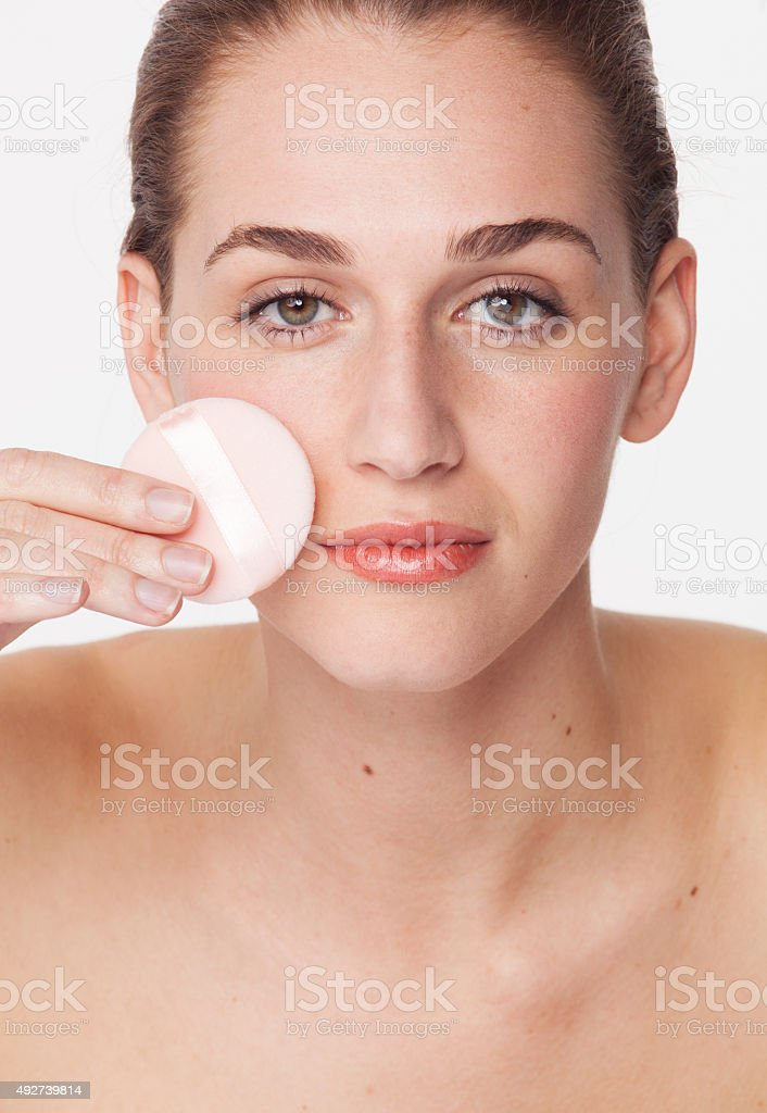 concept of facial cleansing and makeup removal for natural beauty stock photo