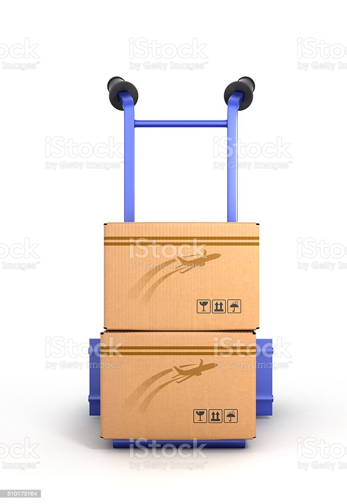 concept of fast delivery, the box on the two-wheeled trolley stock photo