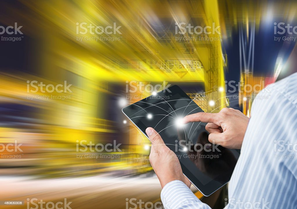Concept of fast or instant shipping stock photo