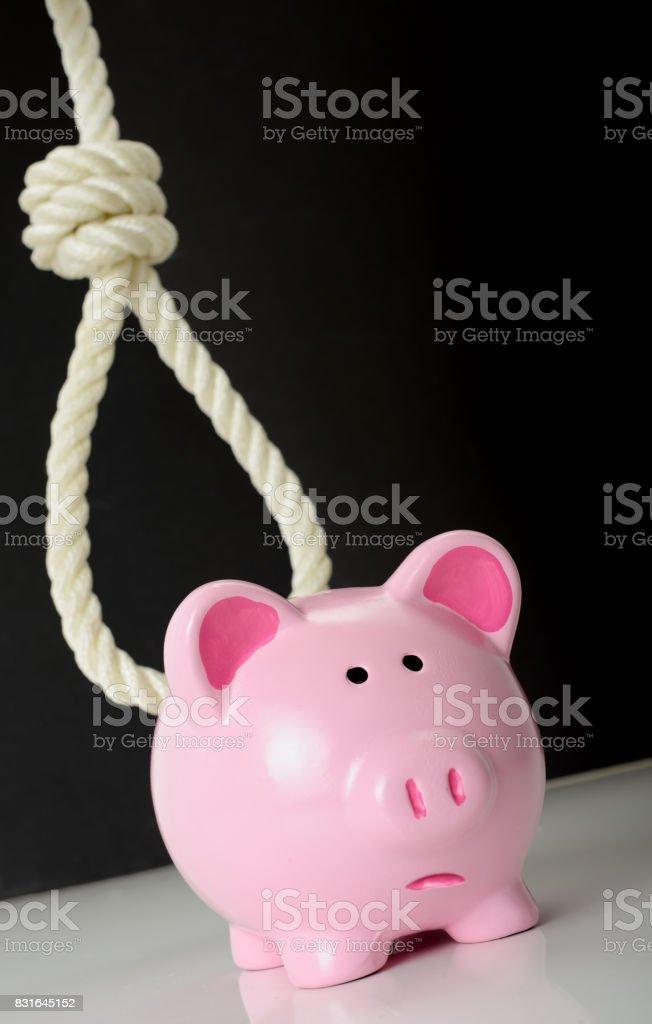 Concept of finacial problems a piggybank stock photo
