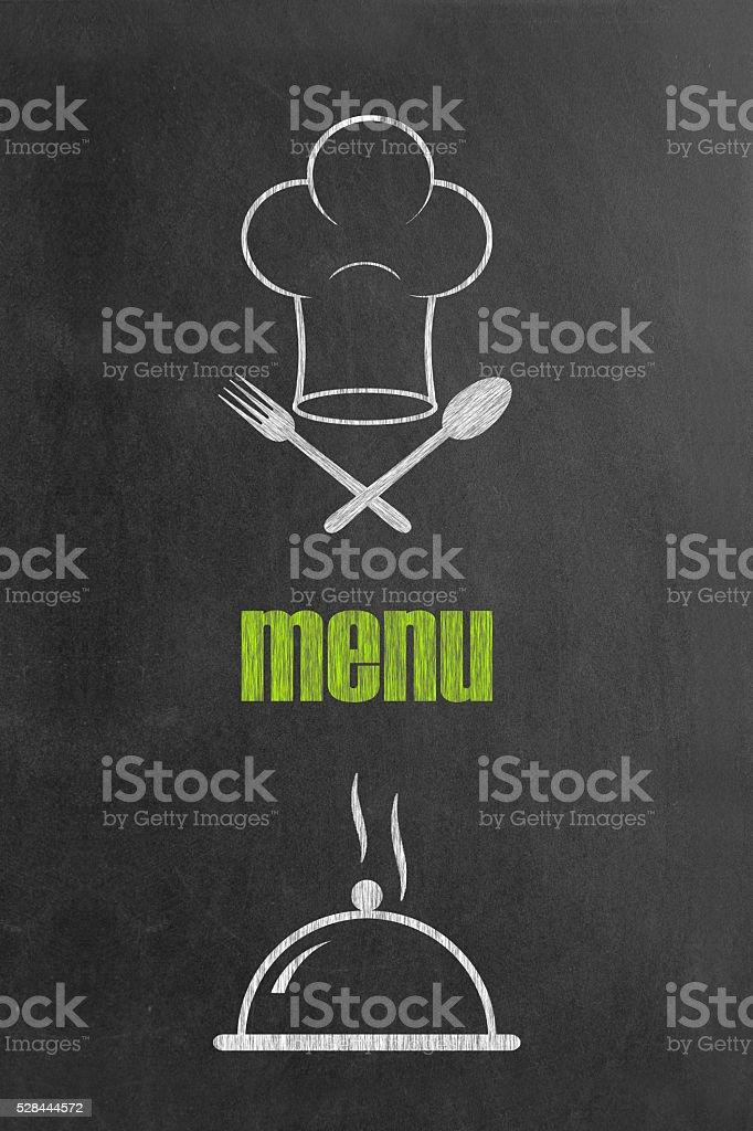 Concept of food ordering on blackboard stock photo