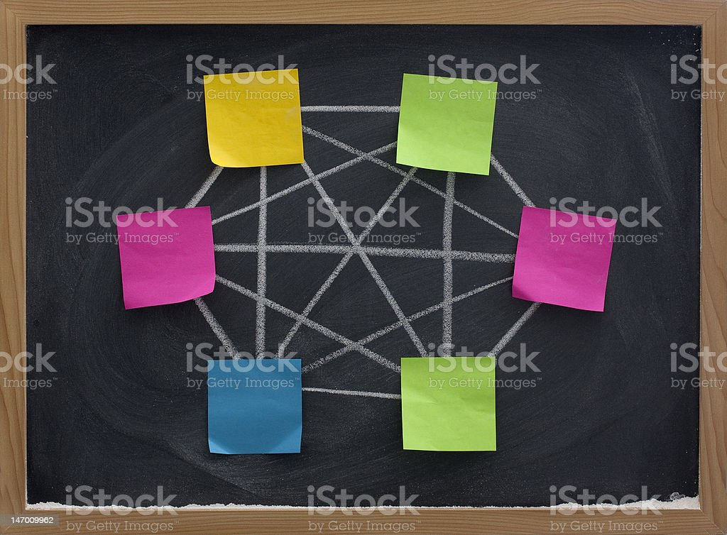 concept of fully conected computer network on blackboard royalty-free stock photo