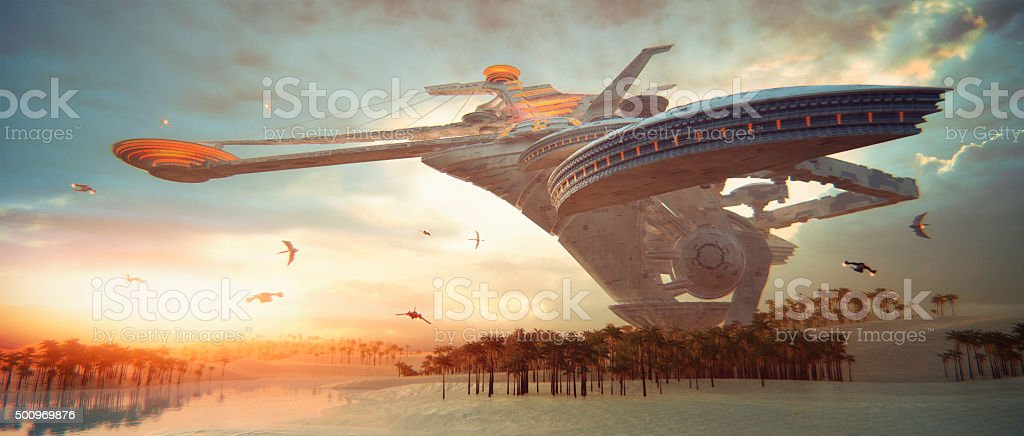 Concept of futuristic living in the desert stock photo