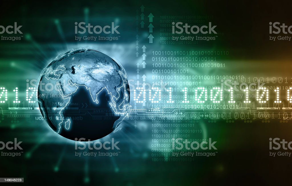 Concept of global communication via binary code royalty-free stock photo