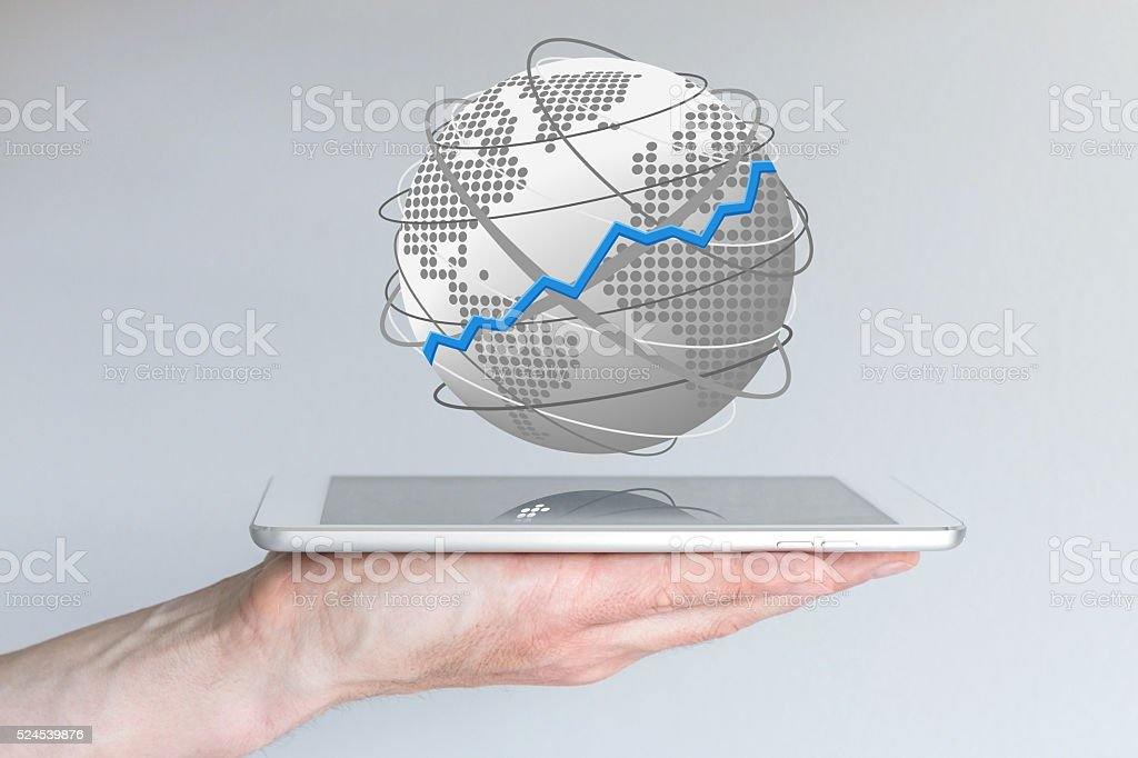 Concept of global sales increase of mobile devices smart phone stock photo