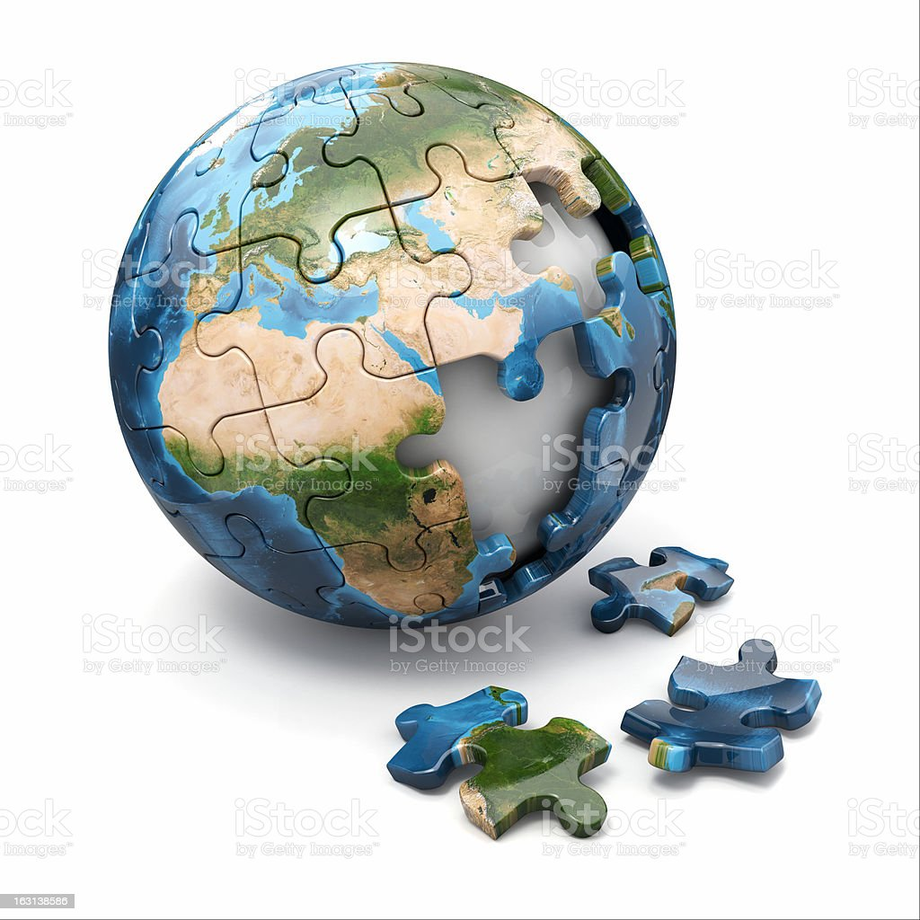 Concept of Globalization. Earth puzzle. 3d royalty-free stock photo