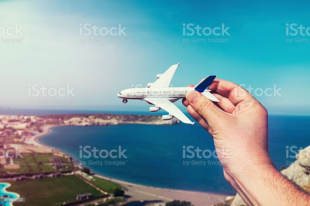 Concept of going on vacation by airplane in the summer stock photo