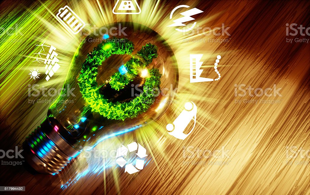 Concept  of green energy innovation technology. stock photo